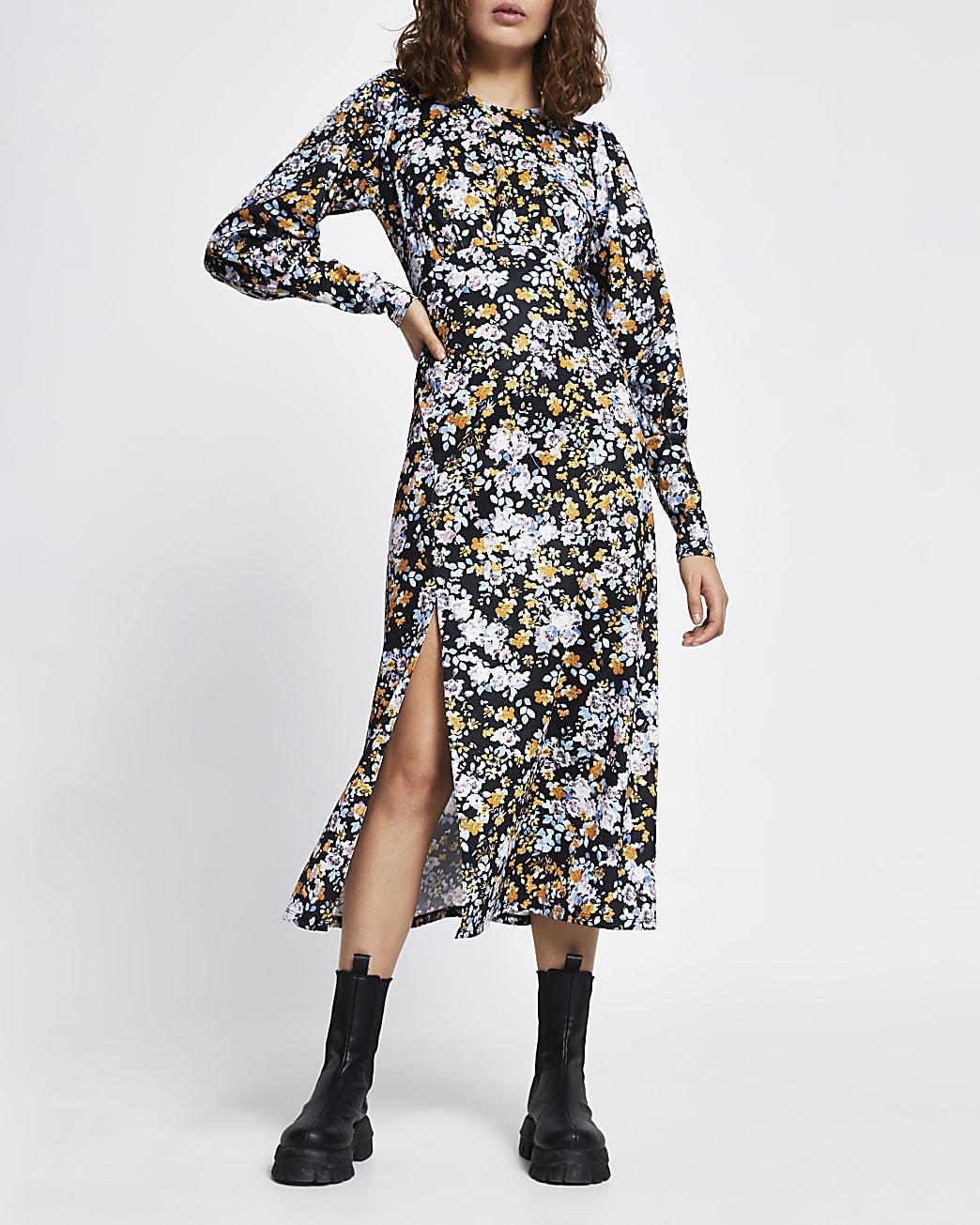 Blue long sleeve floral split midi dress