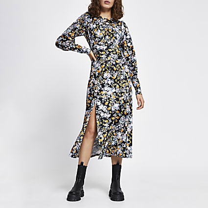 Blue long sleeve floral split midi dress