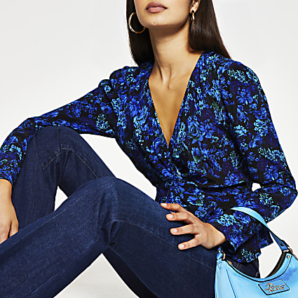 Blue long sleeve floral twist front blouse
