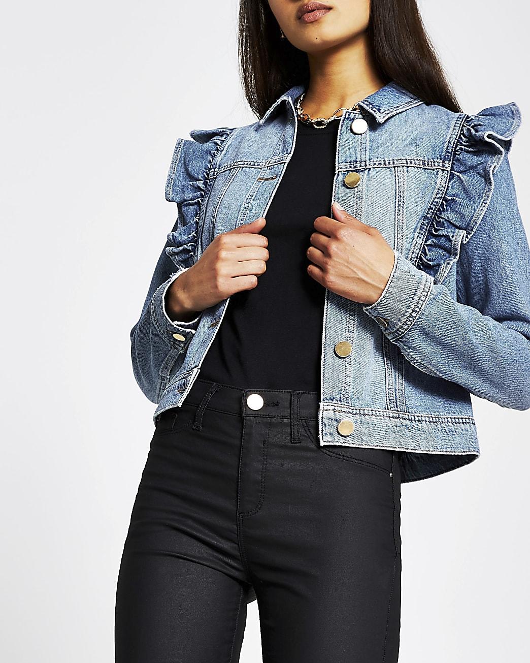 Blue long sleeve frill denim jacket