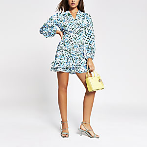 Blue long sleeve frill ruched mini tea dress