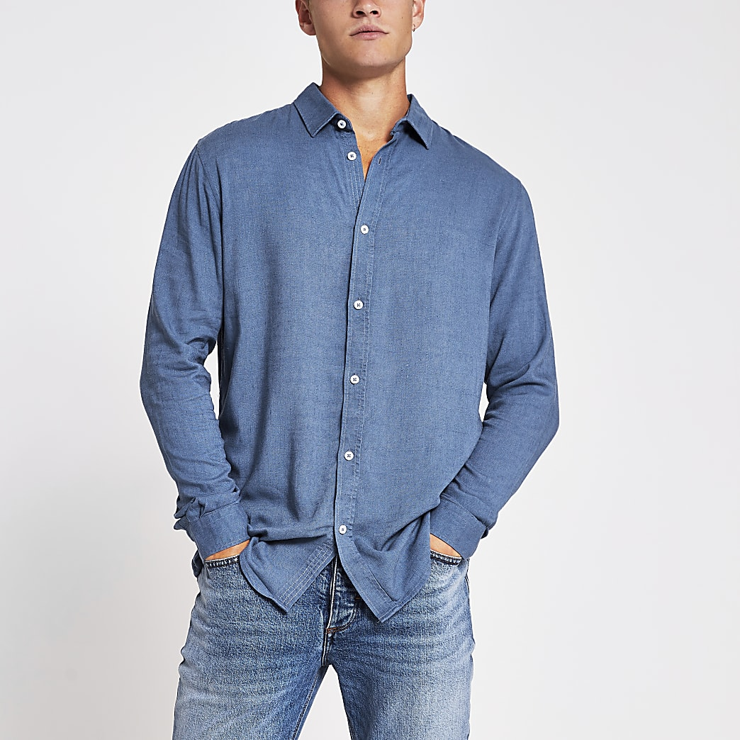 Blue long sleeve linen regular fit shirt