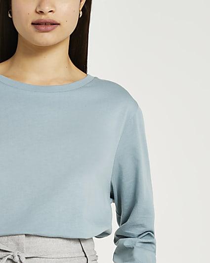 Blue long sleeve longline t-shirt