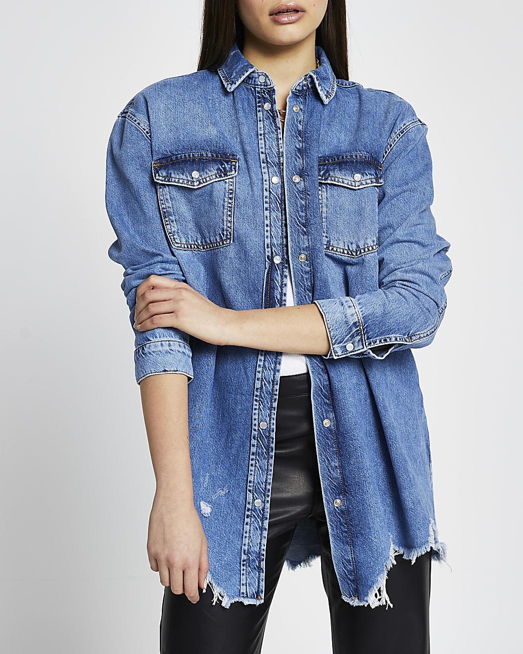 Blue long sleeve oversized frayed denim shirt