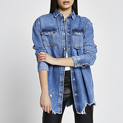 Blue long sleeve oversized frayed denim shirt