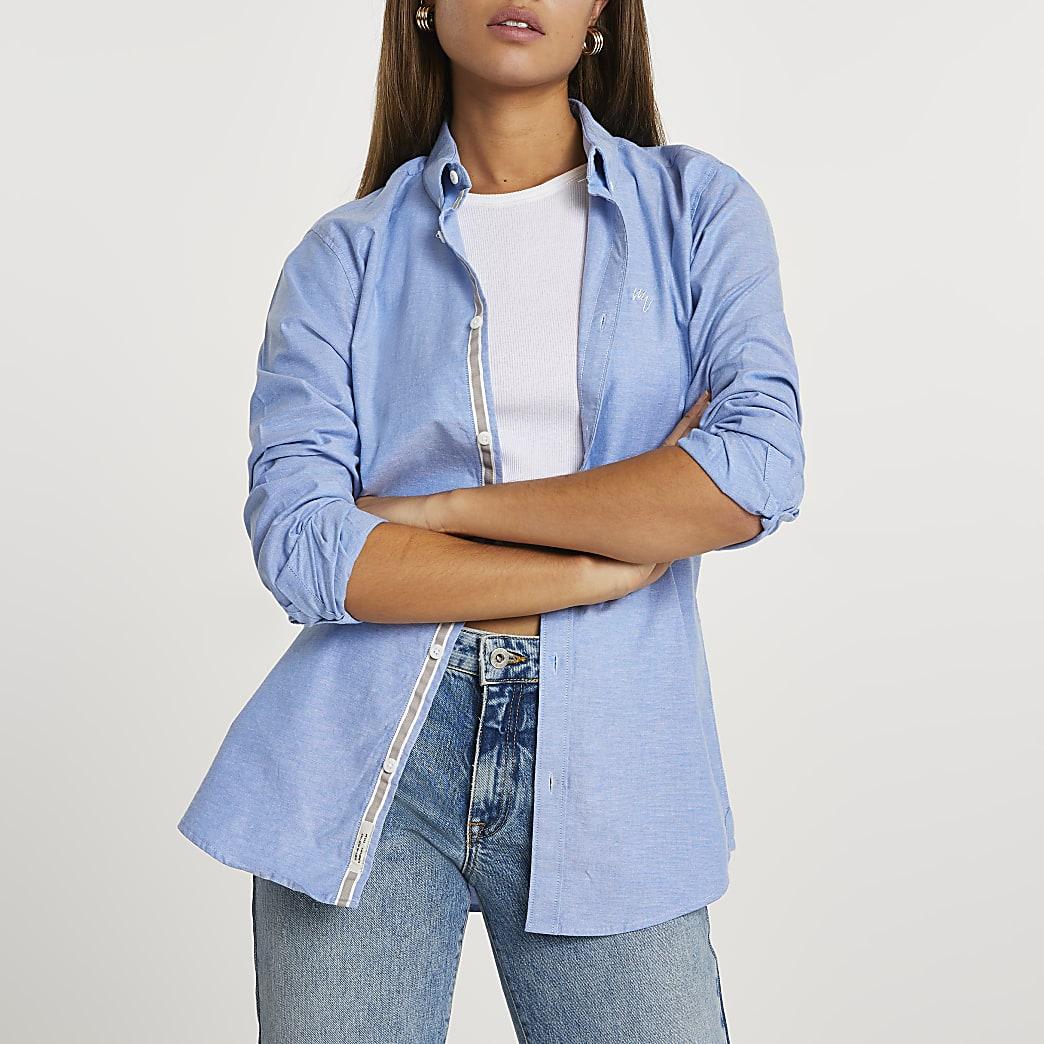 Blue long sleeve oxford shirt
