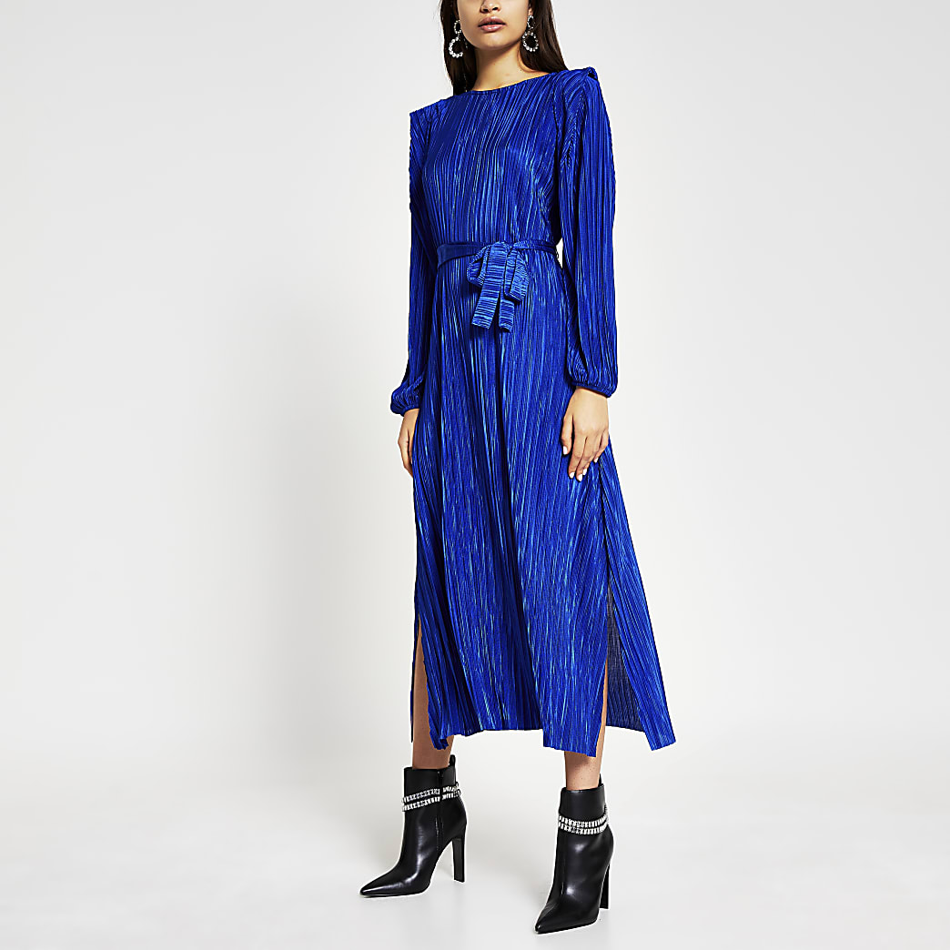 Blue long sleeve plisse tie waist midi dress
