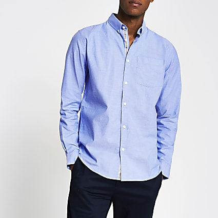 Blue long sleeve regular fit oxford shirt