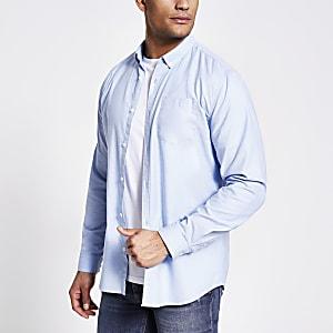 Blauw regular-fit Oxford overhemd met lange mouwen