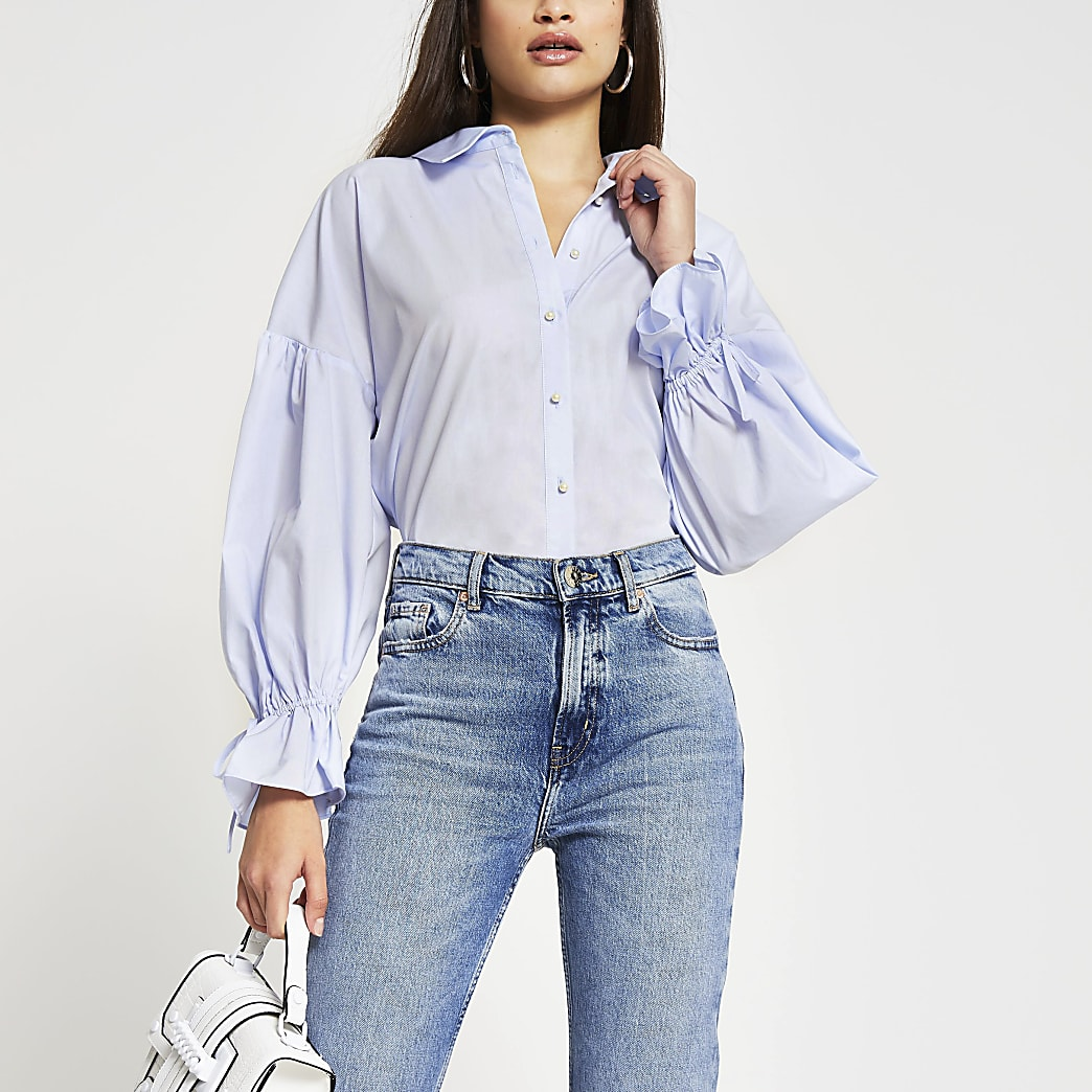 Blue long sleeve ruched detail poplin shirt