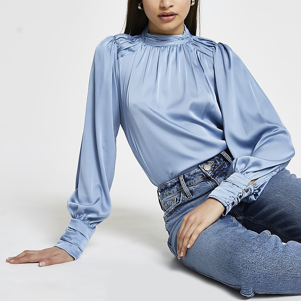 Blue long sleeve ruched shoulder blouse top