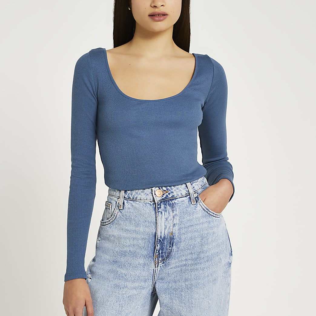 Blue long sleeve scoop neck ribbed top
