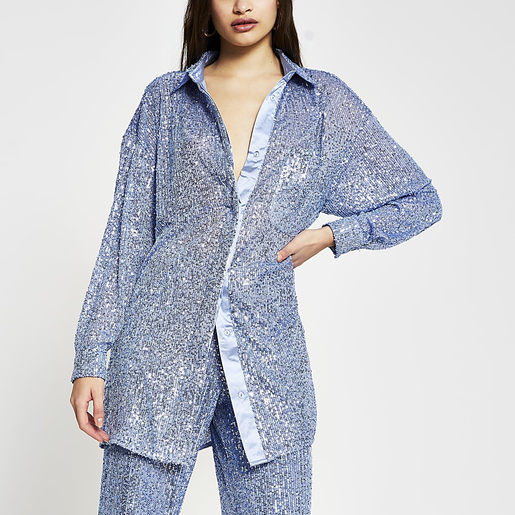 Blue long sleeve sequin shirt