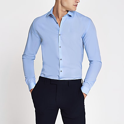 Blue long sleeve slim fit shirt