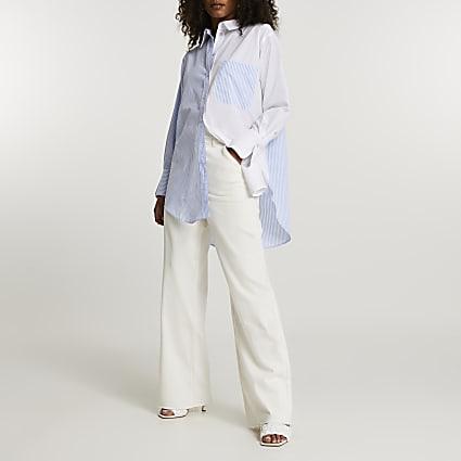 Blue long sleeve stripe shirt