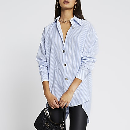 Blue long sleeve striped long line shirt