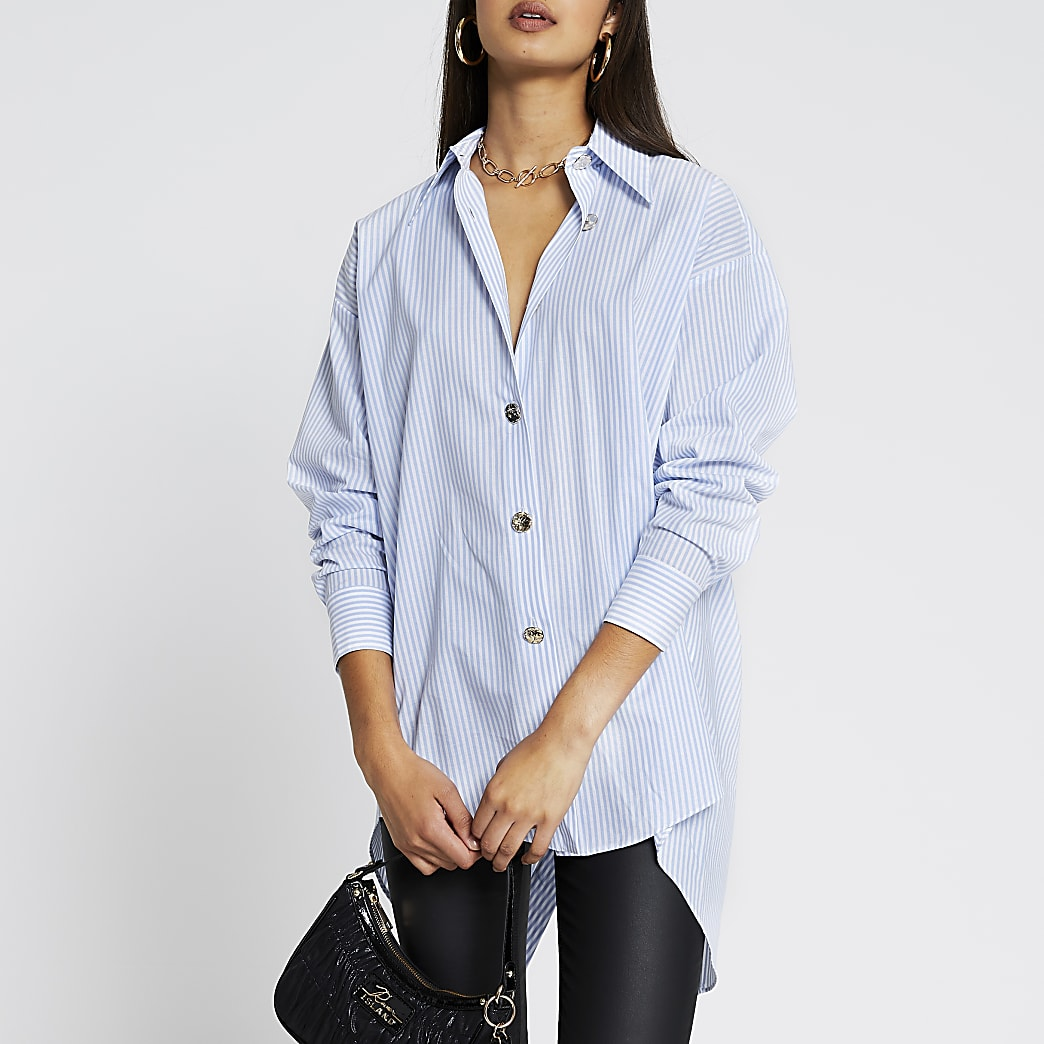 Blue long sleeve striped long line shirt