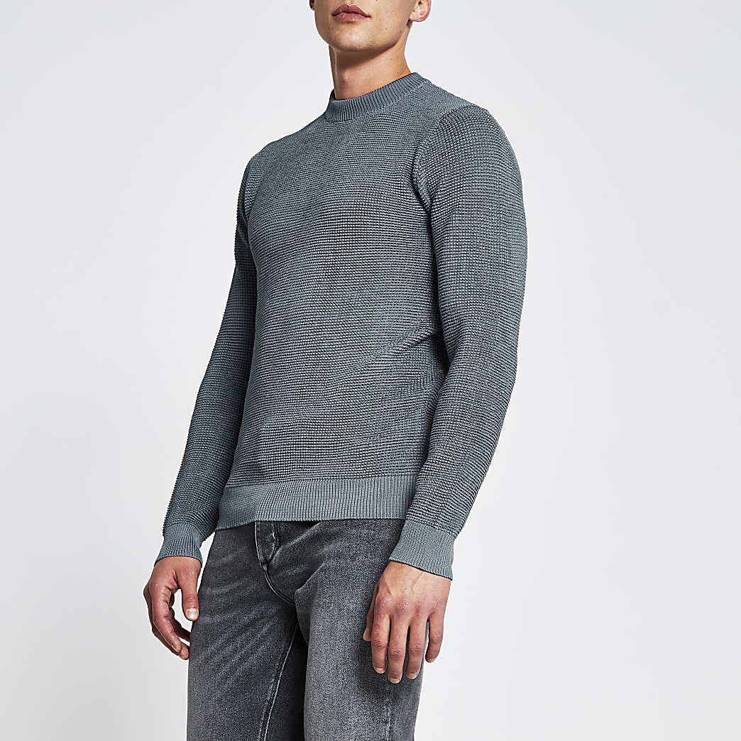 Blue long sleeve waffle knitted jumper
