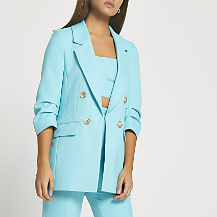 Blue longline ruched sleeve soft blazer