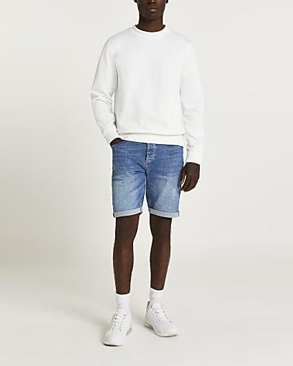 Blue loose fit denim shorts