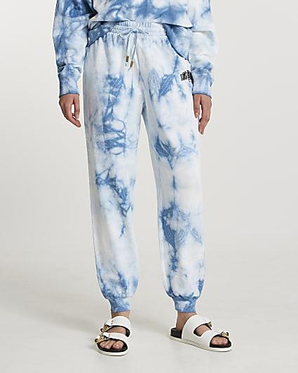 Blue 'Los Angeles' tie dye joggers