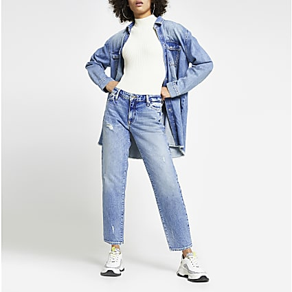 Blue low rise blair straight jeans