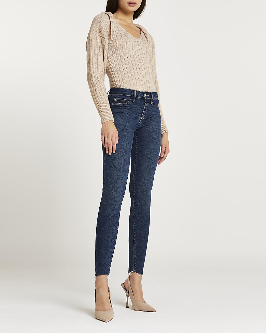 Blue low rise bum sculpt skinny jeans
