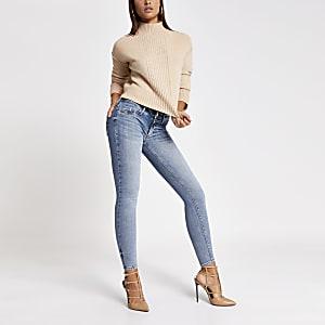 Blauwe new-fit skinny jeans met lage taille