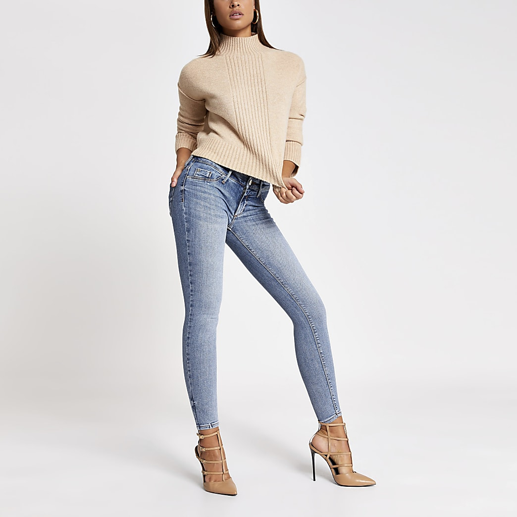 Blaue New Fit Low-Rise Skinny Jeans