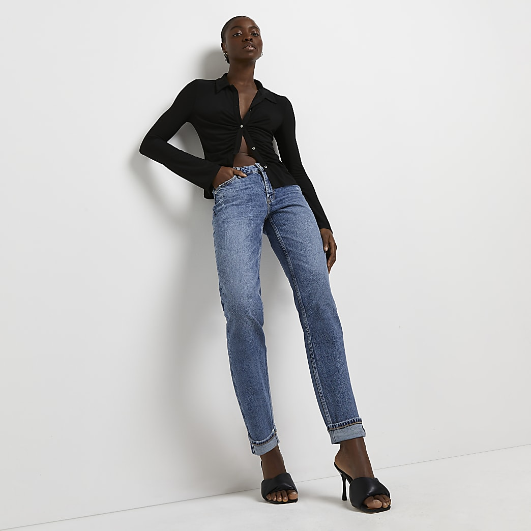 Blue low rise straight jeans