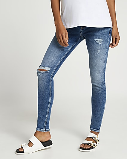 Blue maternity ripped jeans