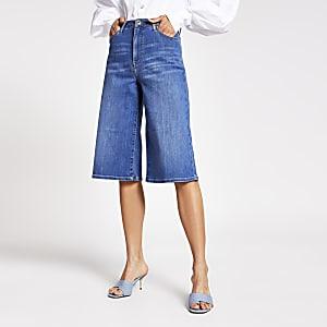 Blue mid rise culotte jeans