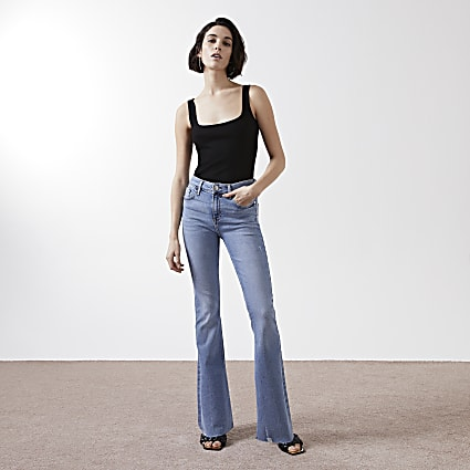 blue mid rise flare jean