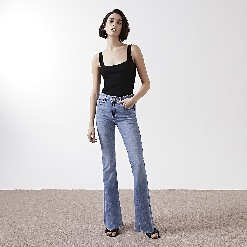 Blue mid rise flare jeans