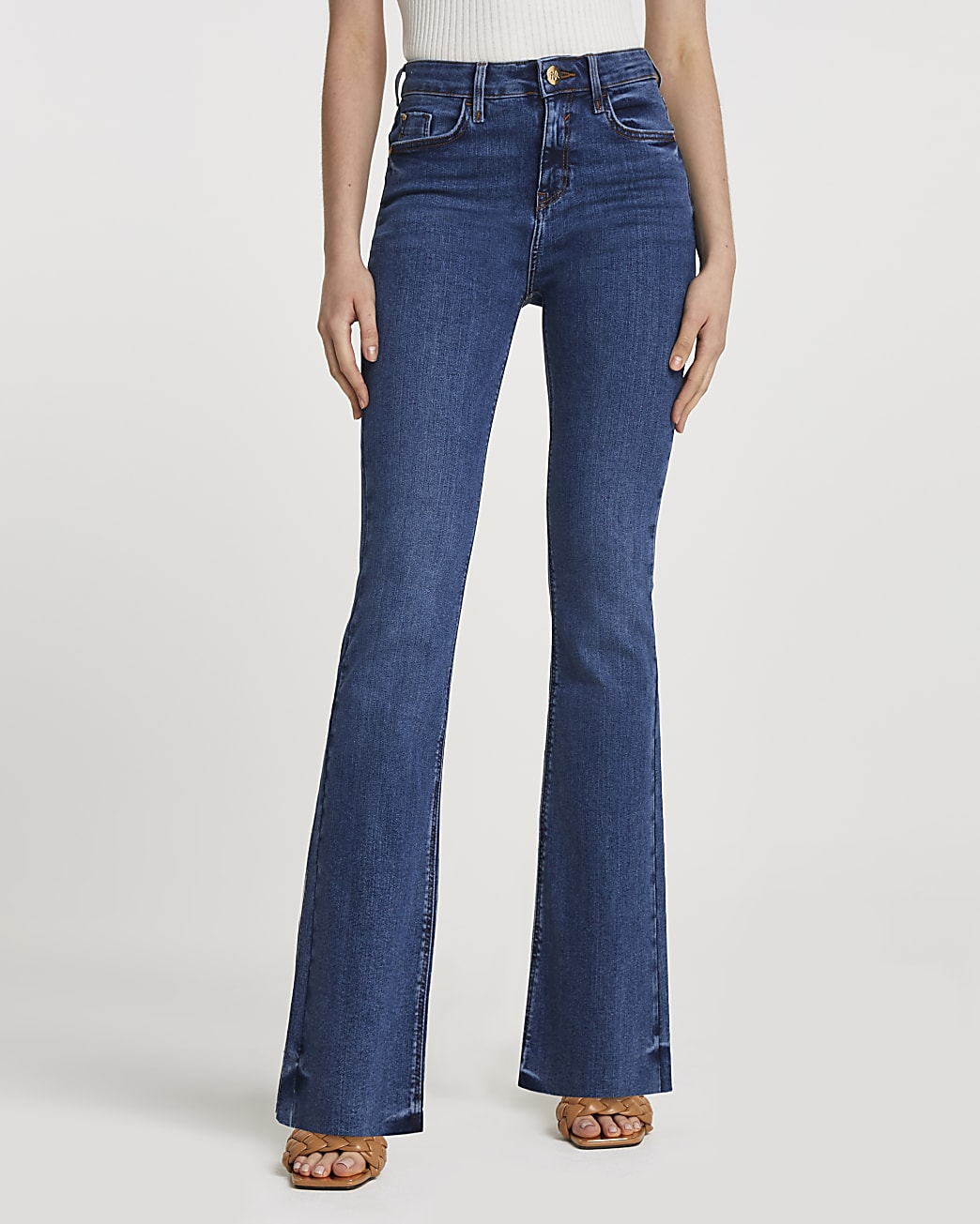 Blue mid rise flared jeans