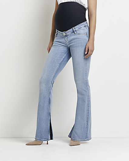 Blue mid rise maternity flared jeans