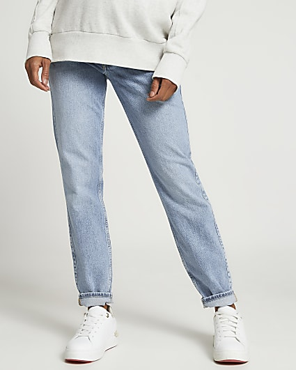 Blue mid rise maternity mom jeans