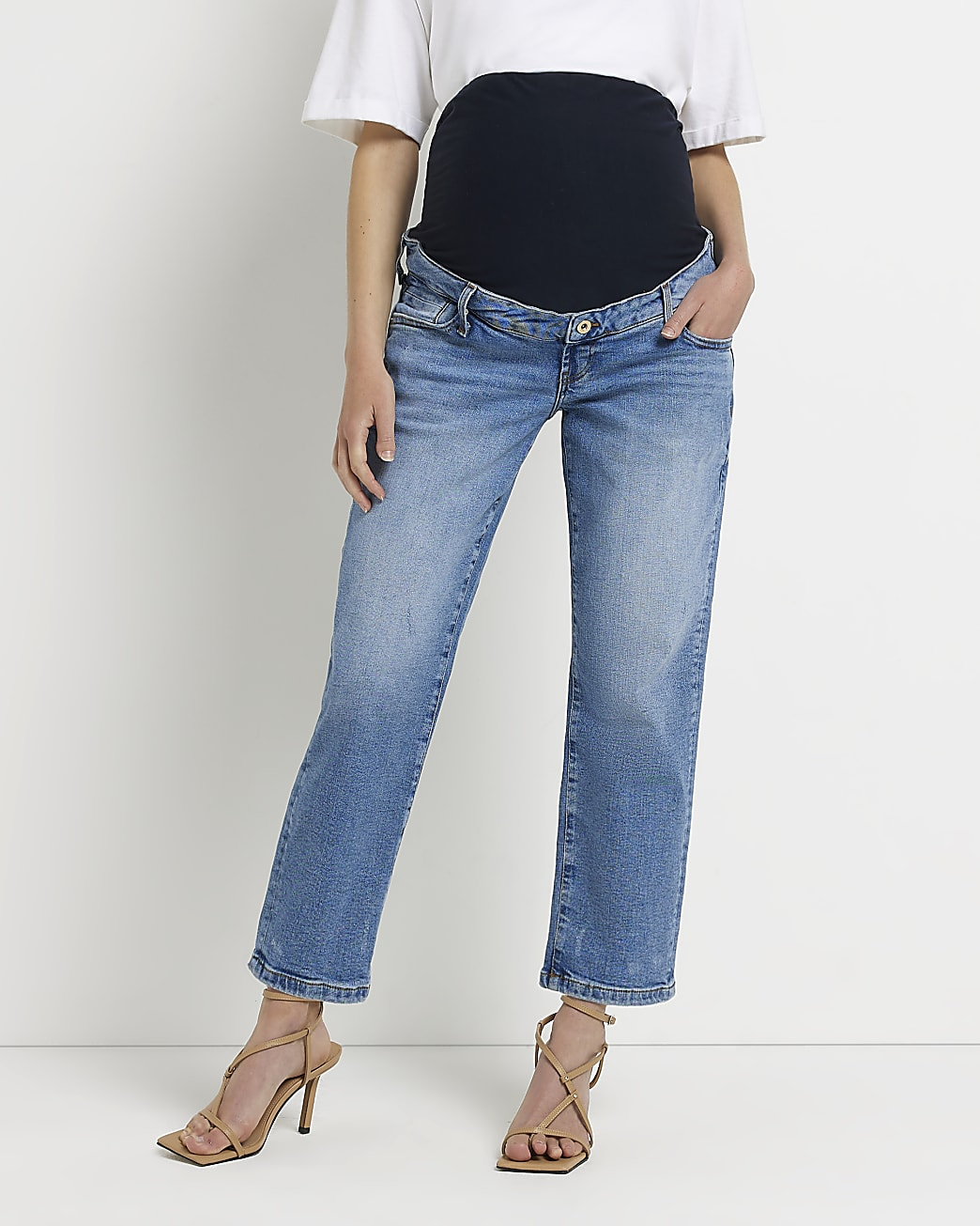Blue mid rise maternity straight jeans