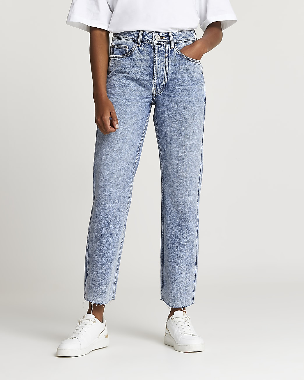 Blue mid rise straight jeans
