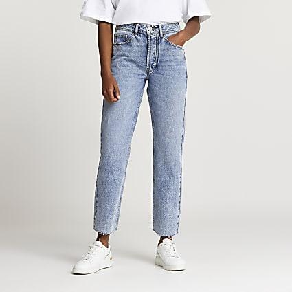 Blue mid rise straight leg jeans
