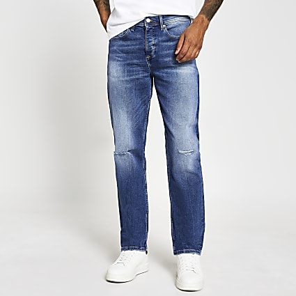 Blue mid wash Dean straight fit jeans