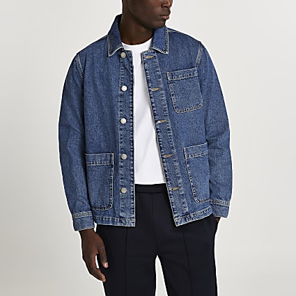 Blue mid wash denim jacket