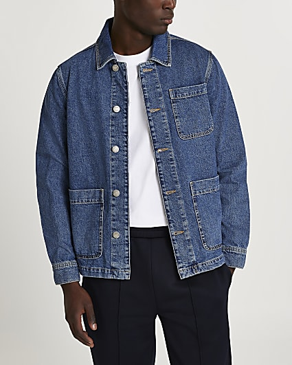 Blue mid wash denim jacket