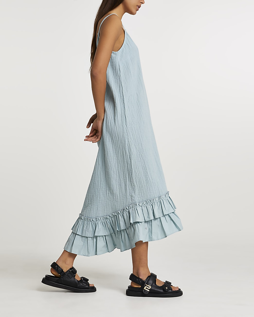 Blue midi ruffle hem slip dress