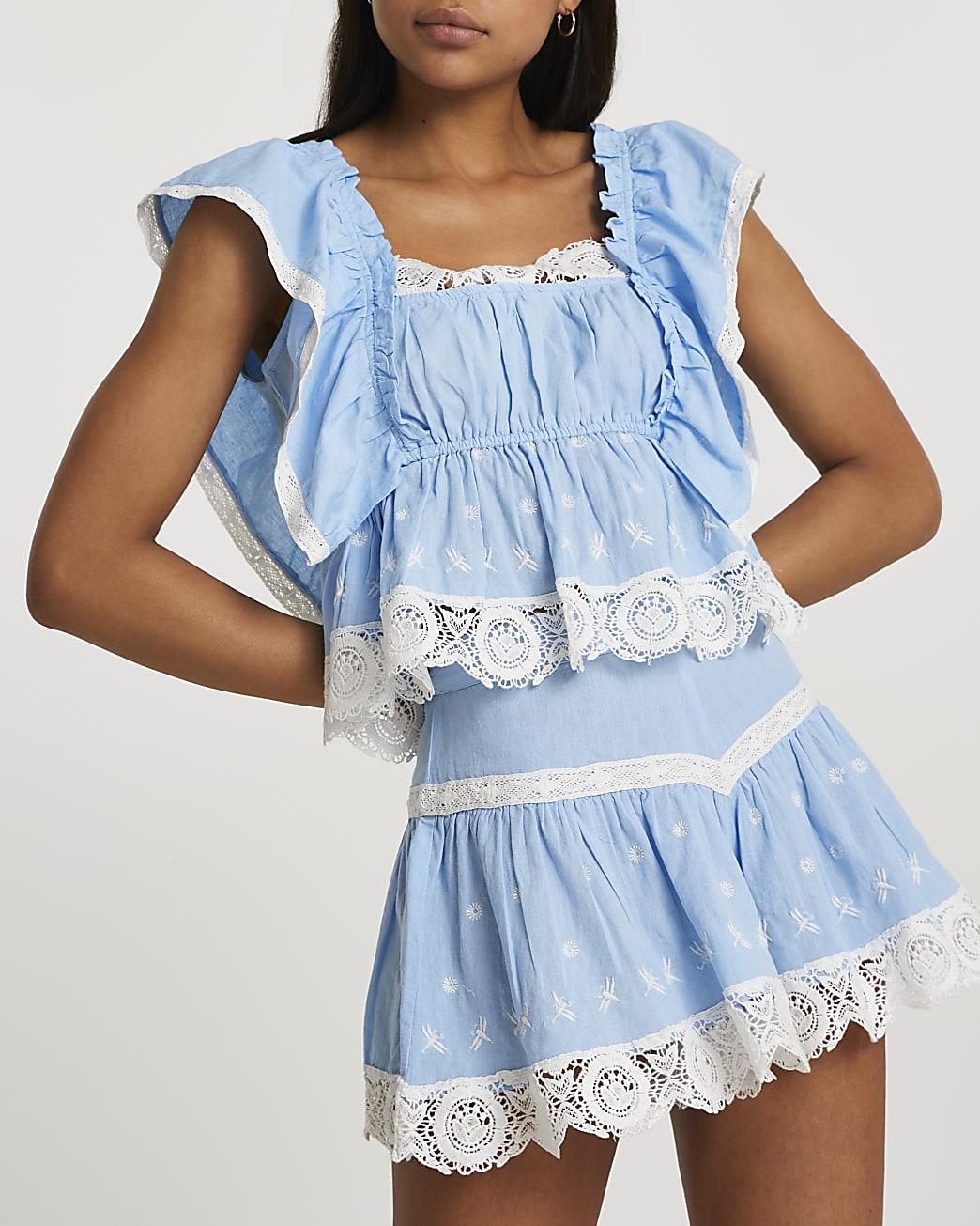 Blue mini embroidered shorts