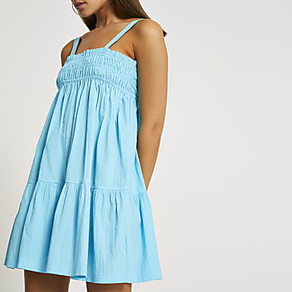 Blue mini shirred parachute dress