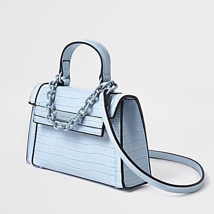 Blue mini tote cross body bag