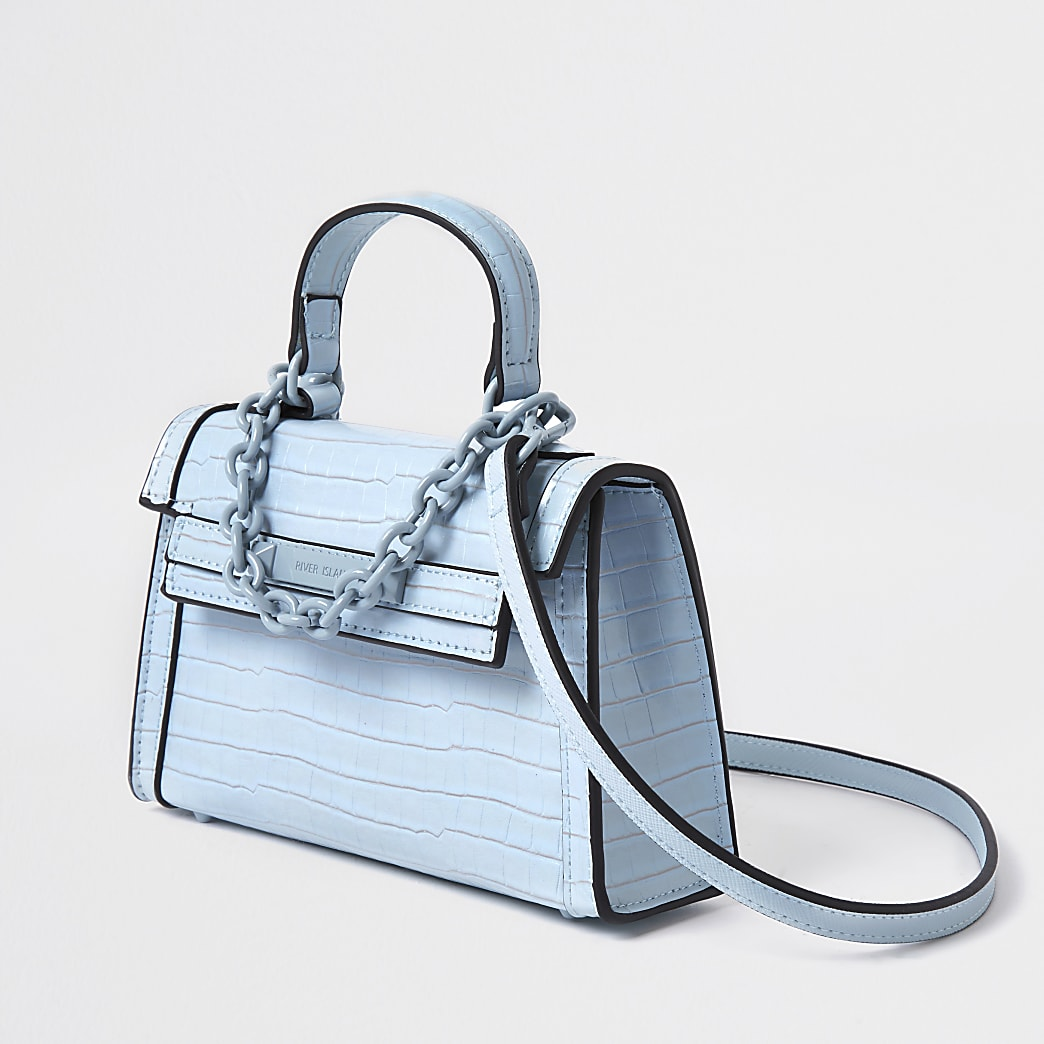 Blue mini tote cross body Handbag