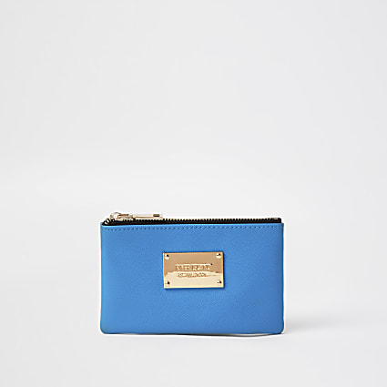 Blue mini zip pouch purse