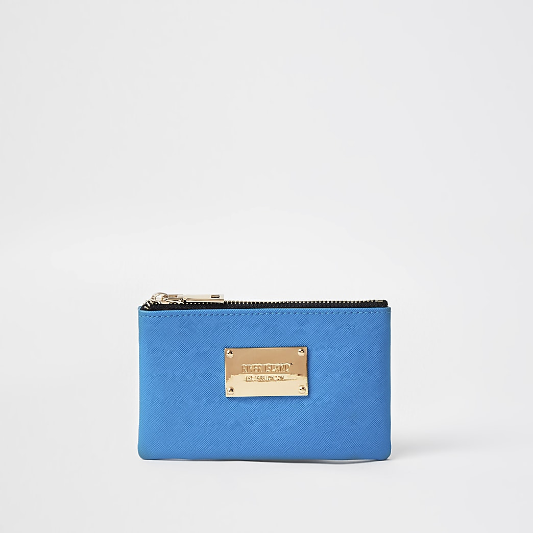 Blue mini zip pouch purse